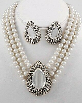 White Faux Pearls Glass Tear Drop Ab Crystals  Multi Rows Fashion Necklace Set