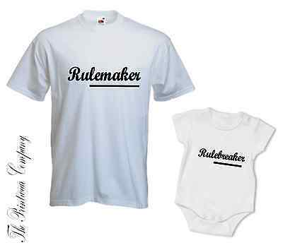 Rule Maker Breaker Matching Daddy Dad Son Daughter T-Shirt Tee Babygrow