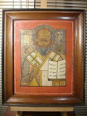 EXQUISITE LARGE ANTIQUE RUSSIAN ORTHODOX ICON ST NICHOLAS WITH KIOT 19th CENTURY