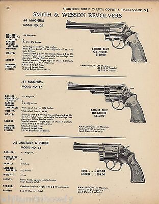 1968 Smith & Wesson Model 29 .44, 57 .41, 58 Military & Police .41 Revolver Ad