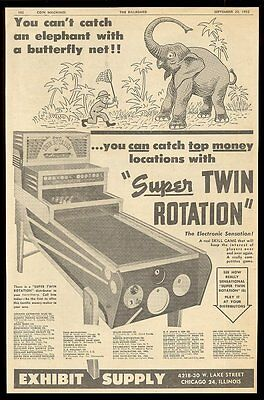 1952 Exhibit Supply Super Twin Rotation pool arcade coin-op game machine ad