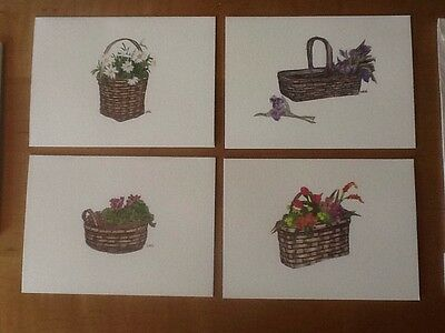 Longaberger 1989 Mother's Day Basket Note Cards - Set of 4 cards with envelopes