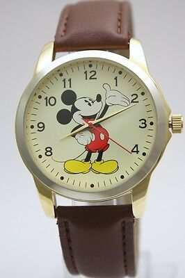 New Disney Mickey Mouse Collectible Two Tone Brown Leather Oversize Watch MCK837