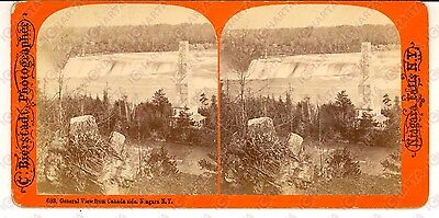 1890 NIAGARA FALLS General view from Canada side *Stereoscopic photo BIERSTADT