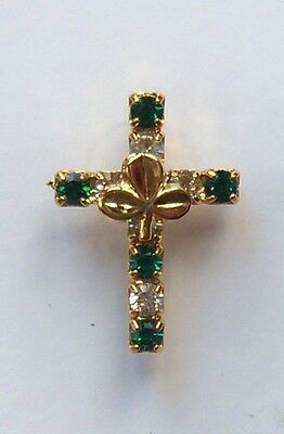 Emerald crystals and clear crystal cross pin with gold shamrock, on gift card