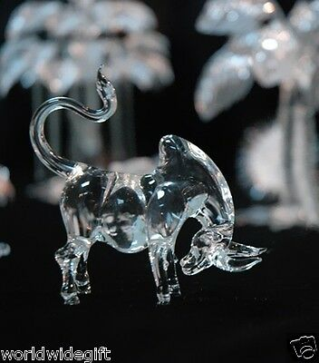 Mini Crystal BULL Ox Blown Glass Art Figurine Animal Dolls Bison Buffalo