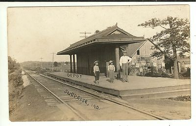 RARE IND RPPC Railroad Depot Surprise Indiana Real Photo Postcard
