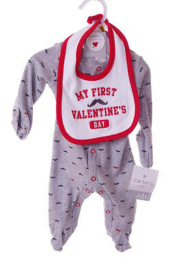 35a76fe18 Carters Baby My First 1st Valentines Day Bib Mustache Outfit NB 3 9 Months  NEW