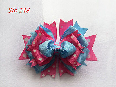 16 BLESSING Girl Costume Boutique 4.5 Inch Fairy Hair Bows Clip 158 No.A6A