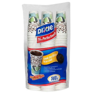 Dixie PerfecTouch, Insulated Paper Hot Cups, 16 oz. Coffee Haze Design 140 Count