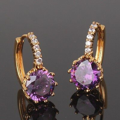 Vintage style 24k Yellow gold filled purple sapphire wedding latest earring