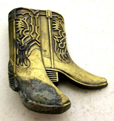 Vintage Cowboy Boots Belt Buckle - western wear - cowgirl brass color distressed