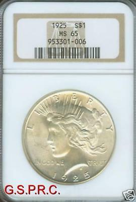 1925 PEACE SILVER DOLLAR S$1 NGC MS65 MS-65 GEM  !!!!!!
