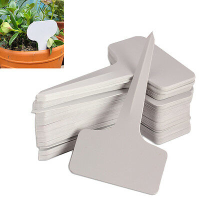 100pcs 6x10cm Plant T-type Tags Markers Nursery Garden Labels Gray Plastic
