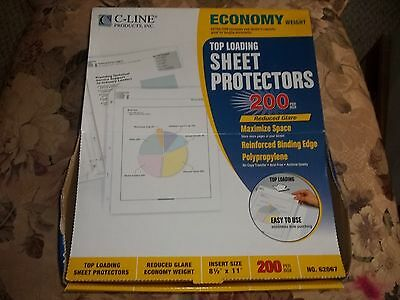 C-Line economy weight top loading sheet protectors NEW qty 200 8 1/2 x 11