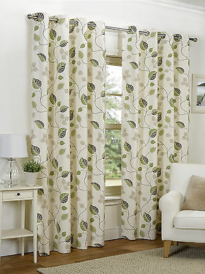 Green Leaf Design Ready Made Curtains Eyelet Ring Top Fully Lined Pair Sizes