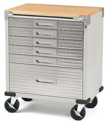 New Stainless Steel 6 Drawer Rolling Tool Chest Box Cabinet WOOD TOP Toolbox