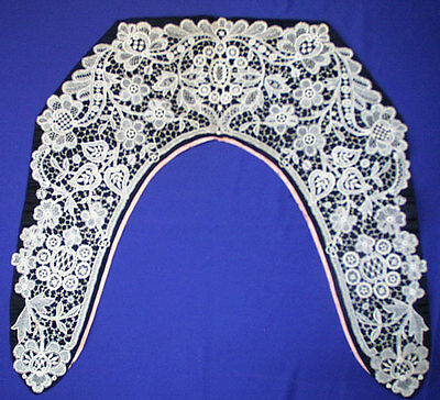 Victorian Chemical Lace Collar Wearable Large Museum De-Accessioned