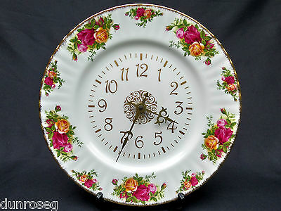 OLD COUNTRY ROSES WALL CLOCK, 26.5cm, 1st QUALITY, VGC, 1993-2002, ROYAL ALBERT