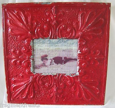 "LARGE 23"" x 23"" Antique Ceiling Tin Picture Frame 8 x 10  Red"