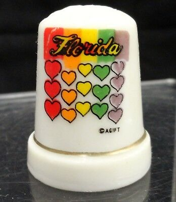 State of Florida Porcelain Thimble with Multi Color Hearts Vintage