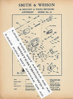 1964 Smith & Wesson Model 12 Military & Police Revolver Schematic Parts List Ad
