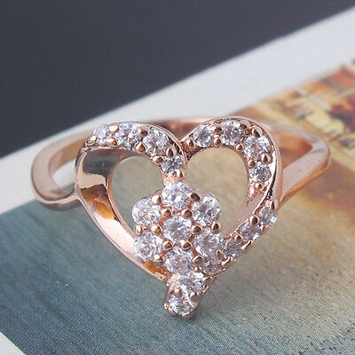 Awesome Heart Shape 18k rose gold filled clear white topaz rings Size5 to 9
