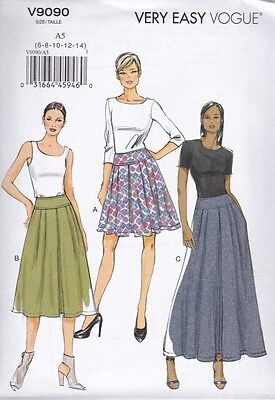 Vogue Sewing Pattern Misses' Very Easy Pleated Skirt  Size  6 - 22 V9090