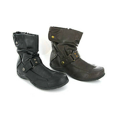 Brown Black Sloutch Pixie Style Ankle Zip Womens Ankle Boots Uk3-8