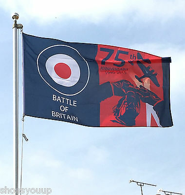 75th Anniversary Battle of Britain RAF Flag 5x3 WW2 with FREE 59mm Button badge