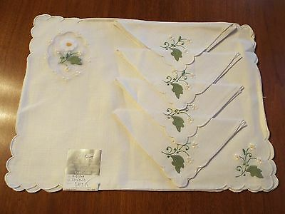 WOW Vtg 8pc MADEIRA Linen and Organdy  Placemat & Napkin  Set  IMPERIAL