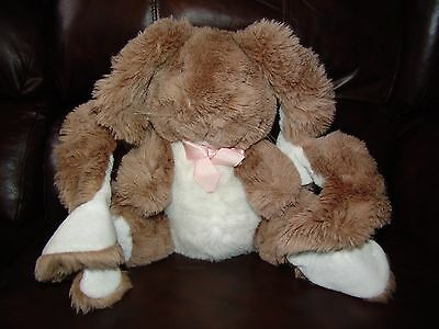 """Vintage 1988 Applause Curly Lops the Brown and White Bunny Rabbit Plush Doll 11"""""""