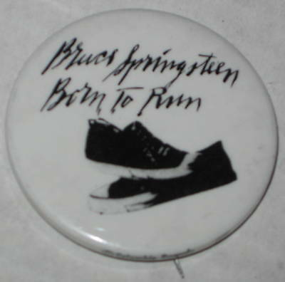 """Bruce Springsteen Born To Run Pin - Has Spots (White) 1.75"""""""