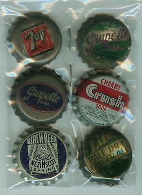 6 Cork Bk Soda Bottle Caps- Cherry Crush Grapette 7up++