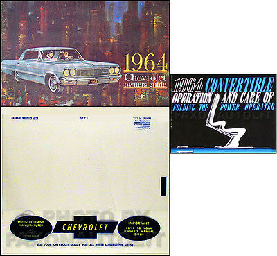 1964 Chevy Impala Convertible Owners Manual Set Owner Guide Top Book Envelope