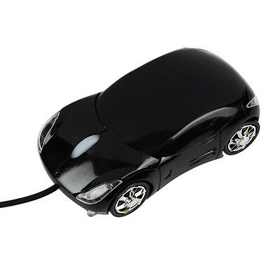 New USB 3D Optical Scroll Wheel Car Mouse for PC Laptop Black US Free Shipping