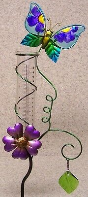 """Rain Gauge Butterfly NEW metal with glass tube measures 7"""" - 17.8 cm"""