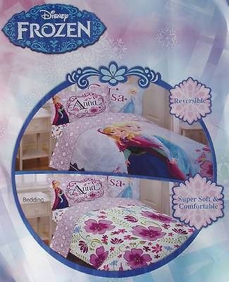 NEW DISNEY FROZEN MOVIE ANNA ELSA FLORAL PURPLE FULL COMFORTER SHEETS 5P BEDDING