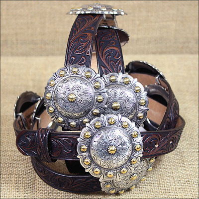 Justin Brown Tucson Concho Western Tooled Leather Ladies Belt