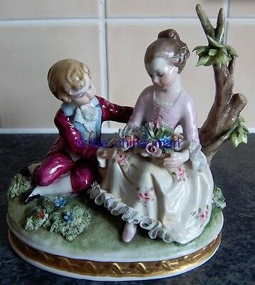BELLOIRE signed CAPODIMONTE DRESDEN LACE YOUNG GIRL & BOY FIGURINE figure