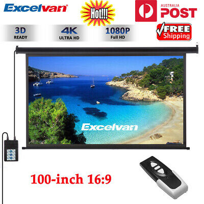 100-inch 16:9 Electric Motorised Projector Screen Home Theatre HD TV Projection
