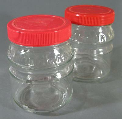 Vintage/retro 60s-70s glass jar x 2 red plastic lids -kitchenalia