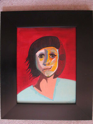 ABSTRACT painting GIBSON POATKTH folk art PORTRAIT fine art POEM children FRAMED