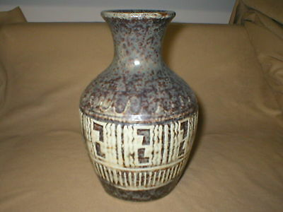 Vintage Mid Century Art Pottery Vase  Unusual Glaze And Design  Made In Japan