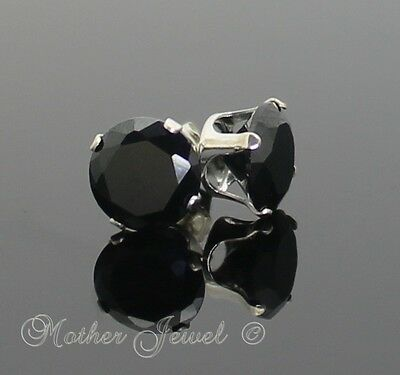 8mm REAL SOLID 925 STERLING SILVER Black Simulated Diamond Earrings Unisex Studs