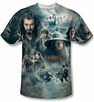 The Hobbit Epic Poster Sublimation Front Print T-Shirt Size XXL (2X) NEW UNWORN