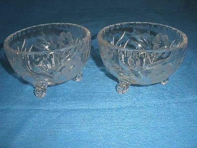 Retro  Etched Crystal  Sweets Dishes F Footed  X 2