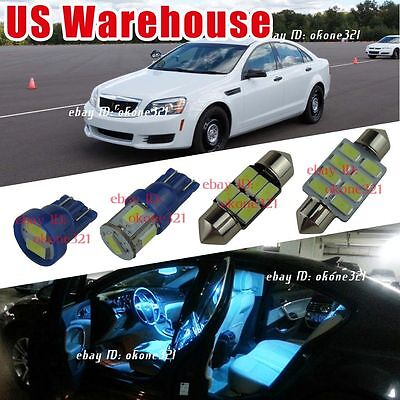 8x Aqua Ice Blue Interior LED Package Kit Dome Map light For Chevy impala L314IB