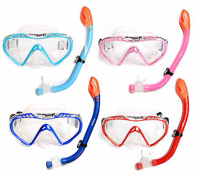 Childrens SILICONE Mask + DRY TOP Snorkel 2PC Diving Set Junior Kids Boys Girls
