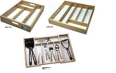 Wooden Cutlery Utensil Holder Organiser Wood Small/large/expandable Trays Choice
